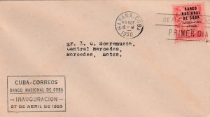1950 Cuba Stamps Sc 448 Bank of Cuba Opening  FDC