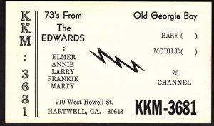 QSL QSO RADIO CARD Old Georgia Boy,The Edwards,Elmer,Annie,Larry,(Q2250)
