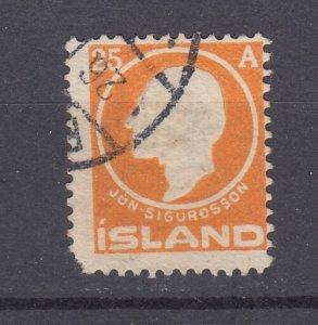 J29750, 1911 iceland used #91 king $50.00 scv