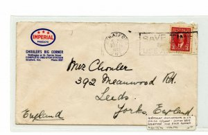 3c #233a booklet stamp on Imperial Oil advertising 1940 to England cover Canada