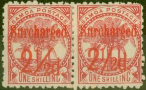 Samoa 1898 2 1/2d on 1s Dull Rose-Carmine SG85 Fine Mtd Mint Pair (2)