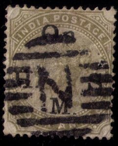 INDIA 1883 Olive Green,QV Postage Stamps Overprinted On H. S. M. Four Annas