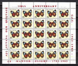 Guyana, Scott cat. 669. Manned Flight o/prints on Butterfly sheet.