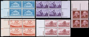 United States Plate Blocks Scott 1029, 1060-1063 (1954) Mint NH VF, CV $5.50 W