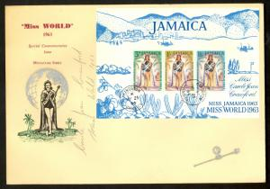 JAMAICA 1964 MISS WORLD Carole Joan Crawford AUTOGRAPHED SS Sc 207a FDC