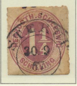 Schleswig-Holstein (German State) Stamp Scott #11, Used, Town/Date Cancel - F...