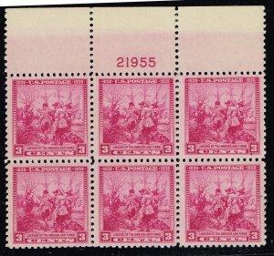 US STAMP # 836 – 1938 3c Swedish-Finnish Tercentenary MNH/OG BLK OF 6 PL#