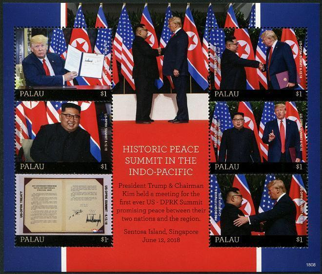 HERRICKSTAMP NEW ISSUES PALAU U.S. & Korea Peace Summit Sheetlet
