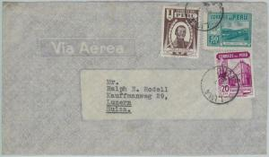 81715  -  PERU - POSTAL HISTORY -   AIRMAIL  COVER to SWITZERLAND    1946