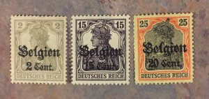 German occupation of Belgium, 1917-18, OG hinged