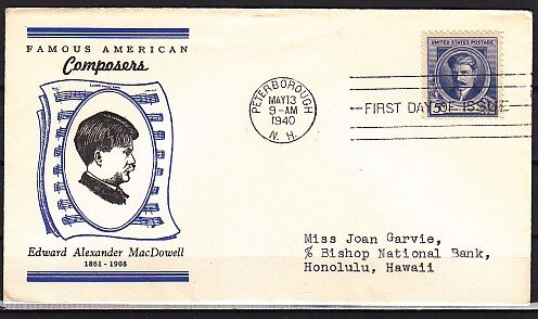 United States, Scott cat. 882. Am. Composer A. MacDowell, First day cover. ^