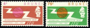 Brunei 116-117, MNH. Intl. Telecommunication Union, cent. ITU Emblem, 1965
