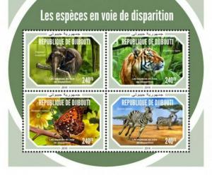Djibouti - 2019 Endangered Species - 4 Stamp Sheet - DJB18616a