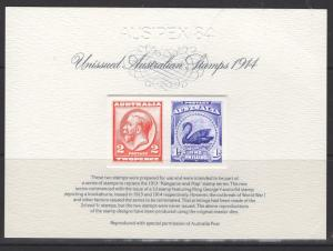 AUSTRALIA SRC1 1984 STAMP REPLICA CARD WITH 1914 UNISSUED PAIR MINT