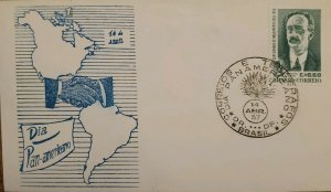 A) 1957, BRAZIL, DAY PAN AMERICAN, CENTENARY STAMP OF THE BIRTH OF NATURALIST AD
