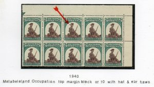 Southern Rhodesia: 1943 Matabeleland 2d 10-blk with hat error SG 61/61a MNH