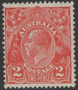 AUSTRALIA SG99 1930 2d GOLDEN SCARLET DIE II p13½x12½ MNH