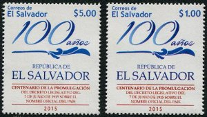 HERRICKSTAMP NEW ISSUES SALVADOR 100 Years Official Name - El Salvador