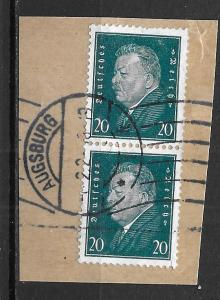 Germany 375 20pf Presidents pair Used (z2) on cut