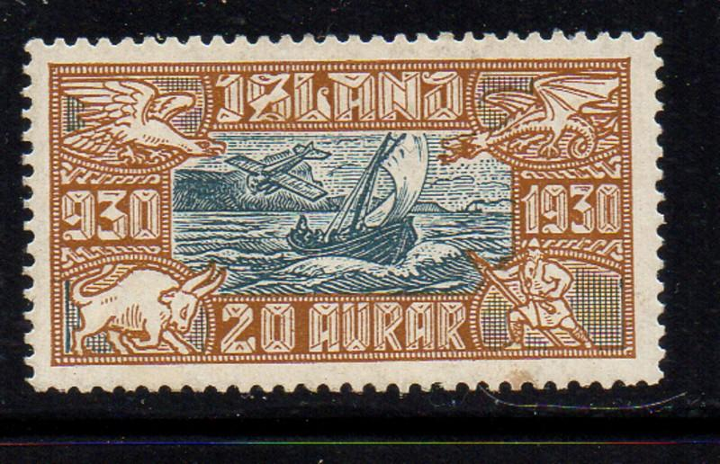 Iceland  1930 20 aur Fishing Boat airmail stamp mint