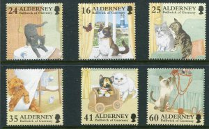 Alderney, Scott 92-7 92-97 97a Cats Singles From Sheet of 6, Butterfly 1996 NH