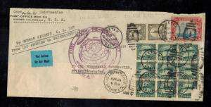 1929 Exeter CA USA LZ 127 Graf Zeppelin cover Around the World Flight to Germany