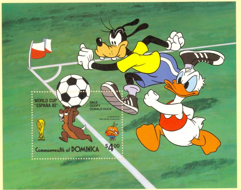 DOMINICA 1982 DISNEY WORLD CUP SOCCER ESPANA 82 Souvenir Sheet Sc 753 MNH