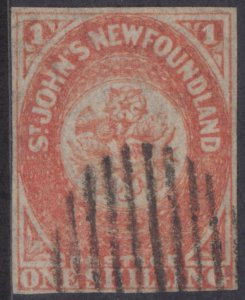 NEWFOUNDLAND 15 1860 1/- ORANGE IMPERFORATE USED CV $10,500 WITH CERTIFICATE