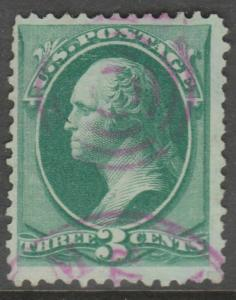 #158 3¢ USED F-VF WITH ELUSIVE PINK TARGET CANCEL BL1446
