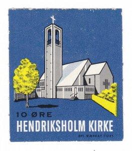 REKLAMEMARKE POSTER STAMP HENDRIKSHOLM KIRKE (CHURCH) DENMARK MÆRKAT 11225
