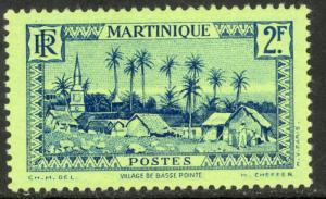 MARTINIQUE 1933-40 2fr Basse-Pointe Village Pictorial Sc 166 MLH