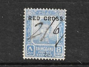 TRENGGANU 1917 8c + 2c  RED CROSS  USED FLAW  SG 22a