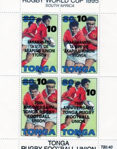 Tonga 1995 RUGBY WORLD CUP Black Ovpt 75th.Anniversary Sheet Perforated Mint(NH)