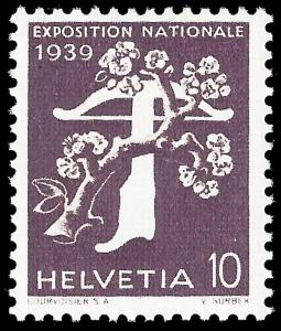 Switzerland 1939 Sc 257a Zu 233z mh grilled paper