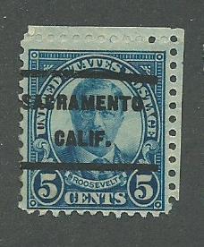 1927 USA Sacramento, Calif.  Precancel on Scott Catalog Number 637