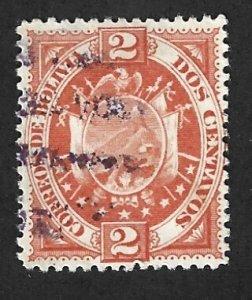 BOLIVIA Scott #41 Used 2c  Coat of Arms stamp 2022 CV $2.25