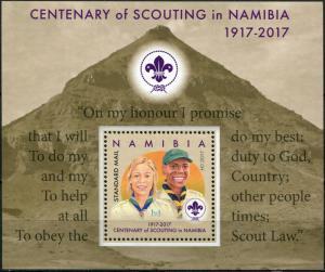Namibia. 2017. Centenary of Scouting in Namibia (MNH OG) Souvenir Sheet