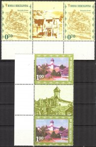 Bosnia 2008 Tourism Architecture 2 Pairs with Labels MNH