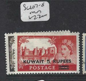KUWAIT   (PP2804B) ON   GB   QEII  CASTLES  SG 107-8  MOG
