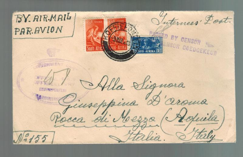 1943 South Africa Koffiefontein Prisoner of War Internment Camp Cover POW Italy