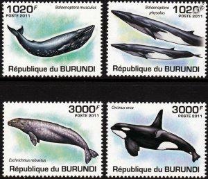 Burundi MNH 857-60 Whales 2011 SCV 13.00