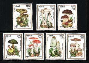 Laos-Sc#627-33-unused NH set-Mushrooms-Fungi-1985-