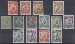 PARAGUAY 1879-81 LIONS Sc 12-13 FOURTEEN IMPERF PROOFS DIFFERENT COLORS & PAPERS