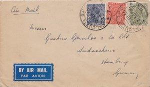 India 2a, 3a6p and 4a KGV 1936 Calcutta G.P.O., D.B.N. Airmail to Hamburg, Ge...