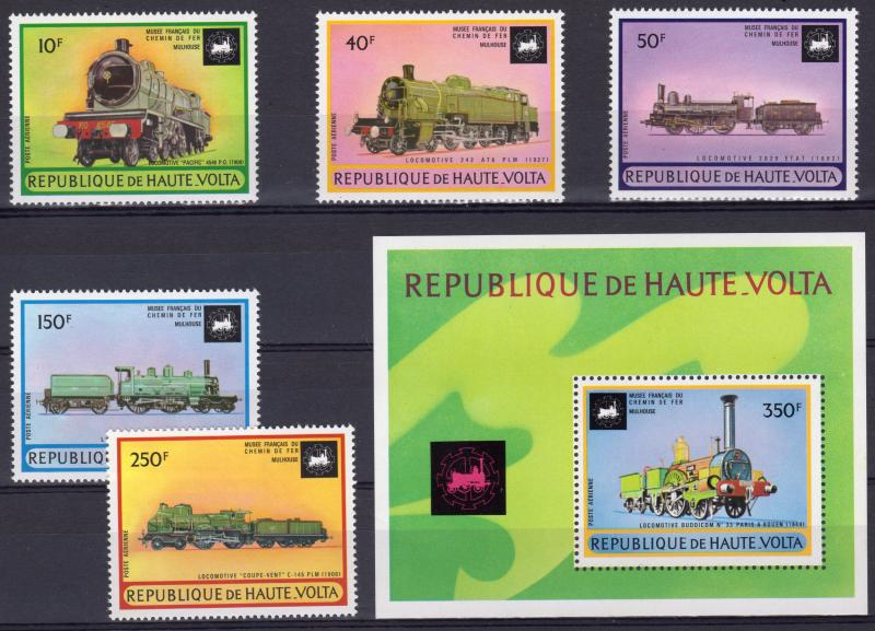Upper Volta 1973 Sc#C154/159 LOCOMOTIVES/TRAINS Set (5) + 1 S/S Perforated MNH