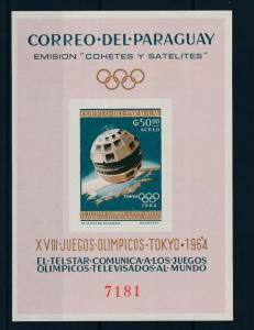 [35621] Paraguay 1964 Space Travel Weltraum Olympic Games Imperforated Sheet MNH