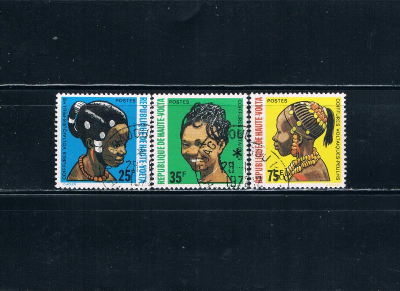 Upper Volta 272-74 Used Coiffure of Puelh Woman (U0294)