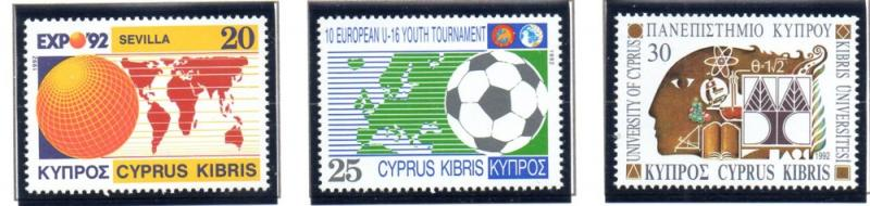 Cyprus Sc 795-7 1992 various events stamp set mint NH