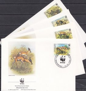 Somalia, Scott cat. 607-610. WWF-Gazelles issue. 4 First day covers. ^
