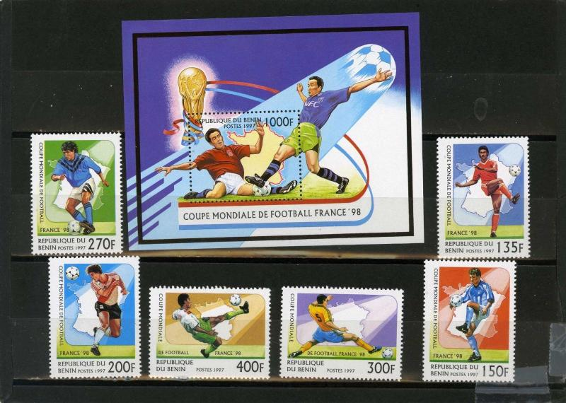 BENIN 1997 Sc#966-972 SOCCER WORLD CUP FRANCE SET OF 6 STAMPS & S/S MNH